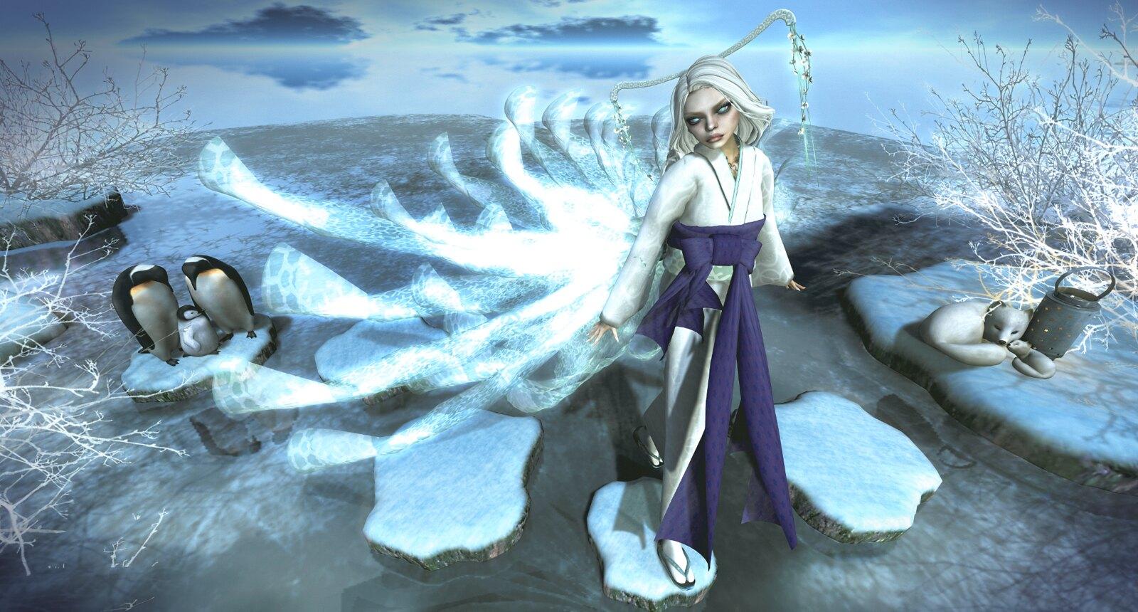 NAMINOKE Snow Princess Kimono for Japonica