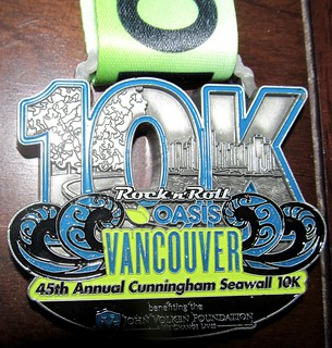 Vancouver Rock'n'Roll 10 km medal 2015