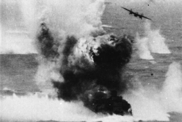 Second Lieutenant Samuel W. Bennett's B-25 pulling away from its attack on the destroyer Amatsukaze. Photo from Warpath Across the Pacific.