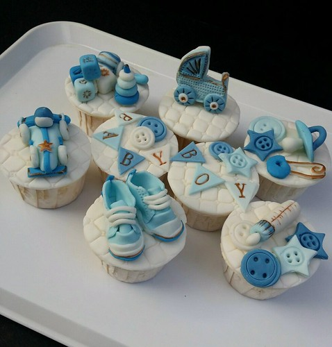 Baby Shower Cupcake Cakes Boy : Baby Boy Blue Shower Cupcakes