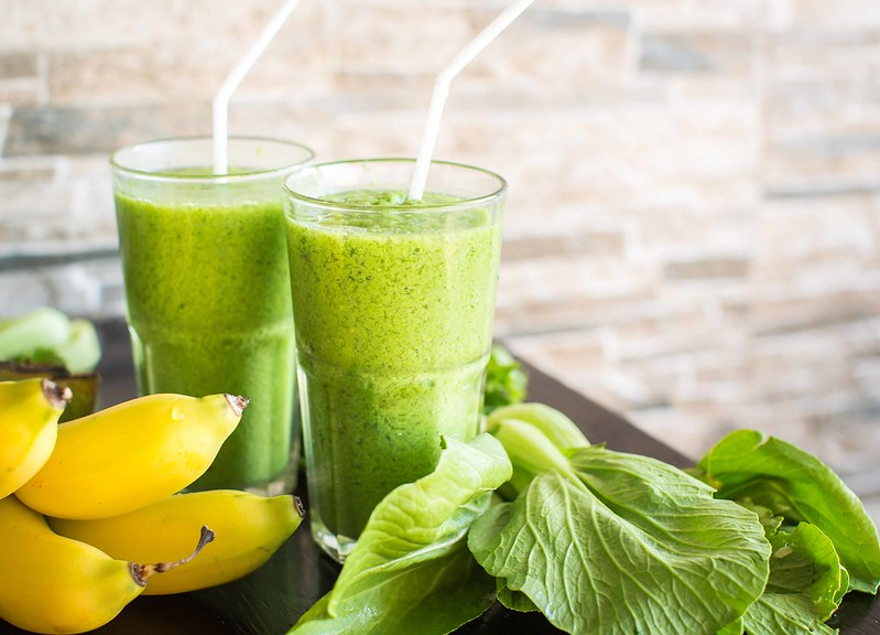 Fresh green smoothie with banana and spinach