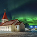 Vik church and northern lights by djmeister