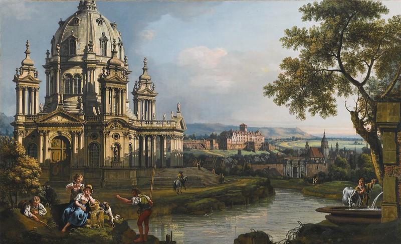 Bernardo Bellotto - A capriccio river landscape with a church to the left (c.1765)