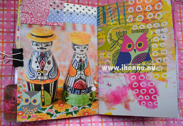 Mini Art Journal Salt and Pepper Couple and another Owl - created by iHanna