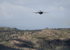 An F/A-18E Super Hornet from Strike Fighter Squadron (VFA) 115 flies over Townsville Field Training Area during exercise Black Dagger. (RAAF photo by SGT Guy Young)