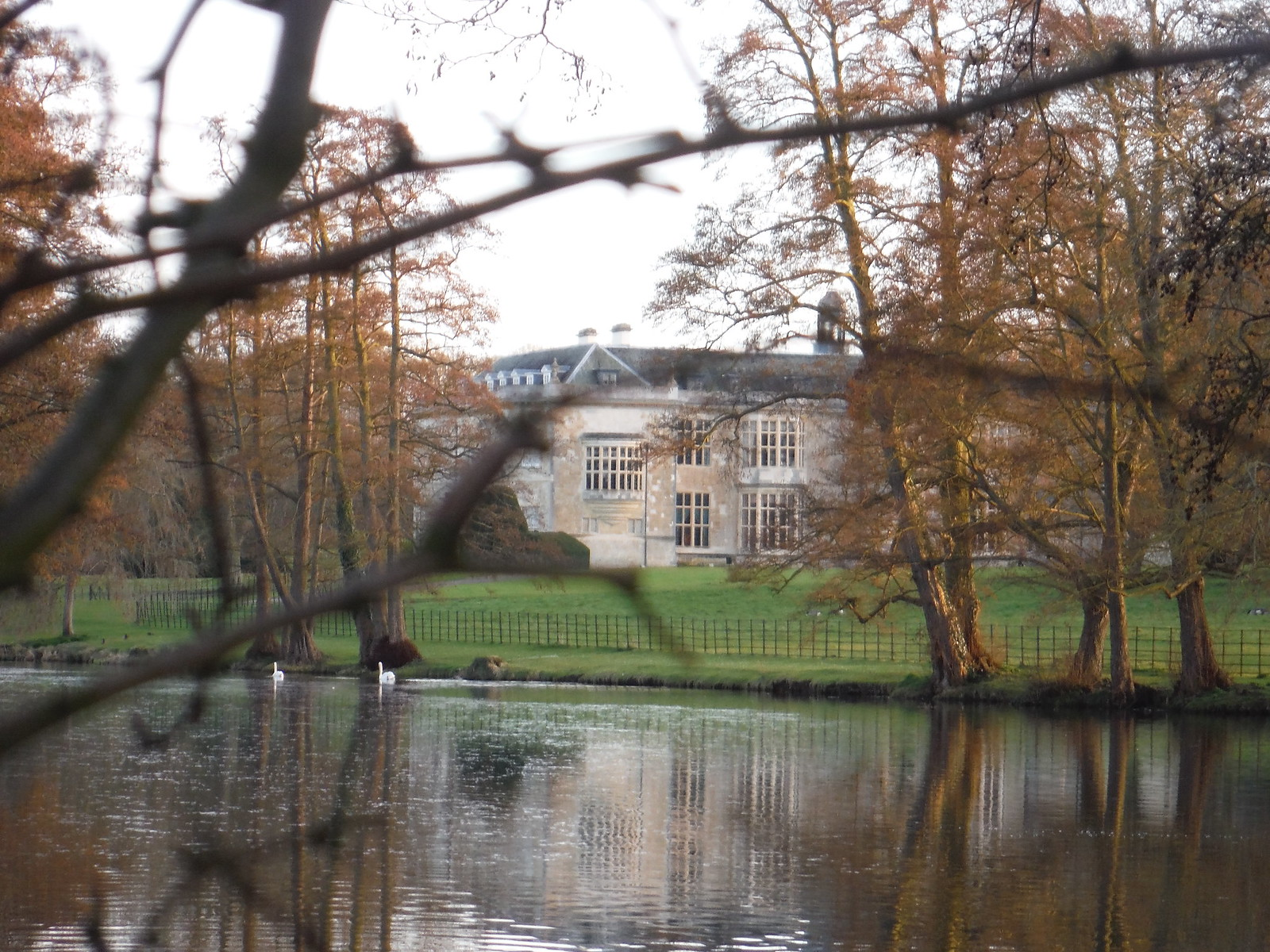Hartwell House through trees, from footpath to the N SWC Walk 193 Haddenham to Aylesbury (via Gibraltar and Ford)