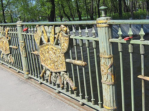 love locks on a bridge in Saint Petersburg