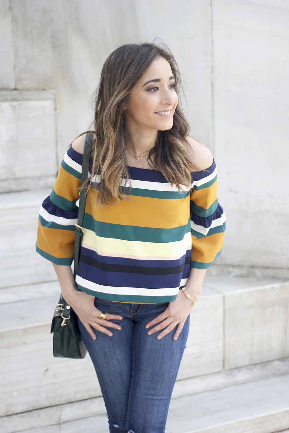 Off The Shoulder Top with stripes jeans heels accessories bag aristocrazy06