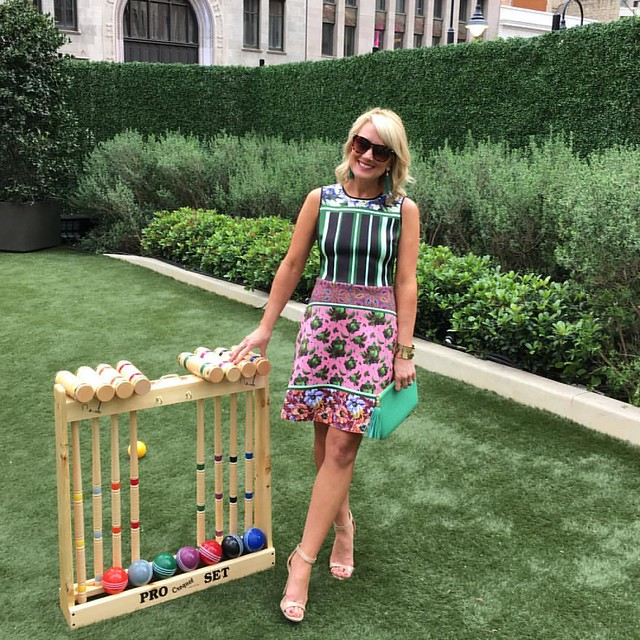 Croquet anyone?! 😋🌸 This was definitely my favorite look this weekend! I scored it on clearance at a local boutique, but found tons of similar vibrant, floral dresses for you & linked them all here (including my perfect nude sandals!) :
