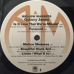 QUINCY JONES:MELLOW MADNESS(LABEL SIDE-A)