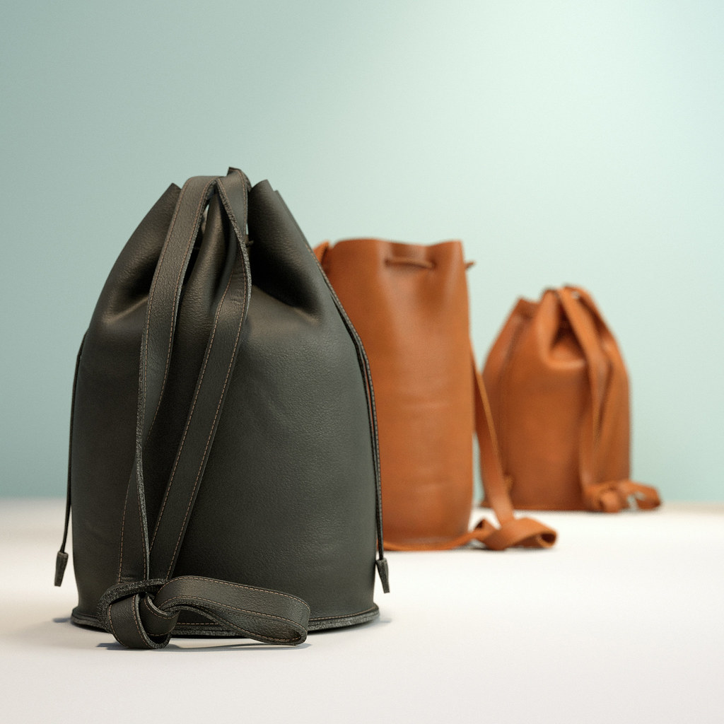 Brown drawstring leather bag