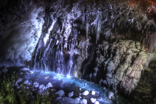 Illuminated Shirahige Waterfall, Biei on JAN 09, 2016 (6)