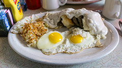 Eggs Redneck - biscuits and sausage, country gravy, eggs, hash browns