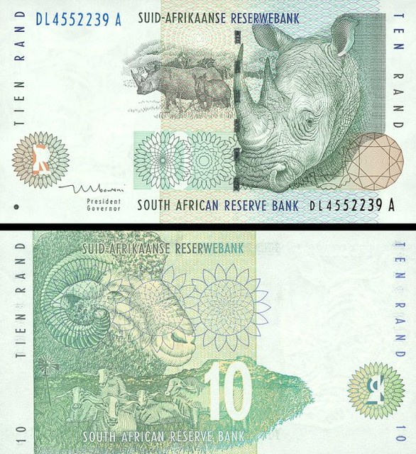 South Africa p123b: 10 Rand from 1999