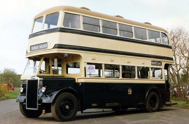 No. 1685 / HOV685, an ex Birmingham City Transport, 1948 Leyland  PD2/1, with Brush H30/24R bodywork, The Transport Museum, Wythall, near Birmingham. 04.1992.