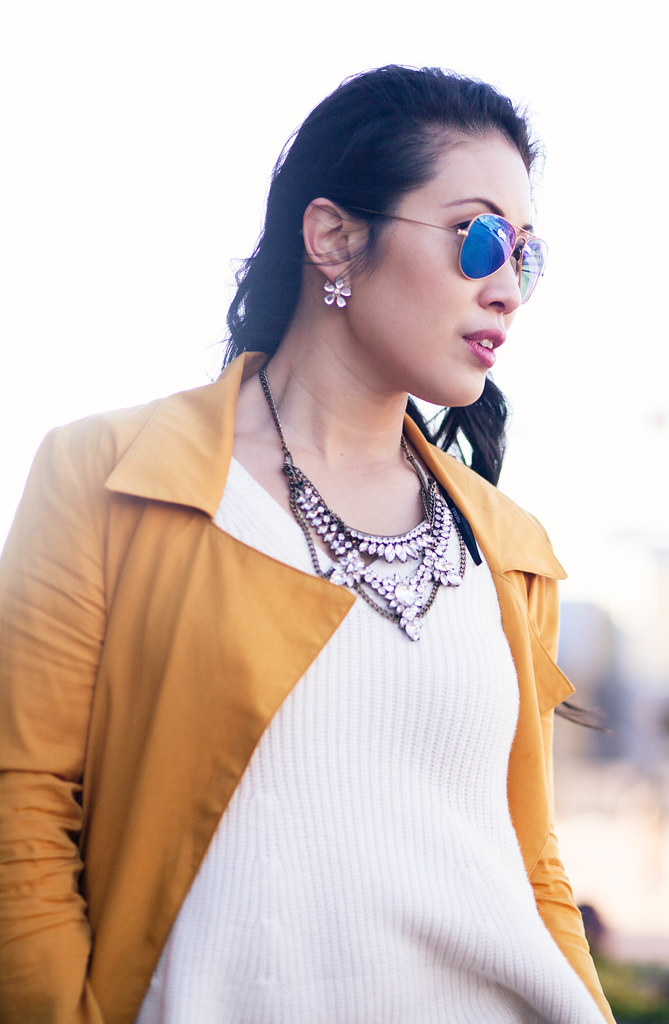 cute & little blog | mustard waterfall drape trench coat, white peplum knit sweater, rayban blue mirror flash aviators | spring outfit