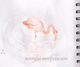 flamingo watercolour sketch