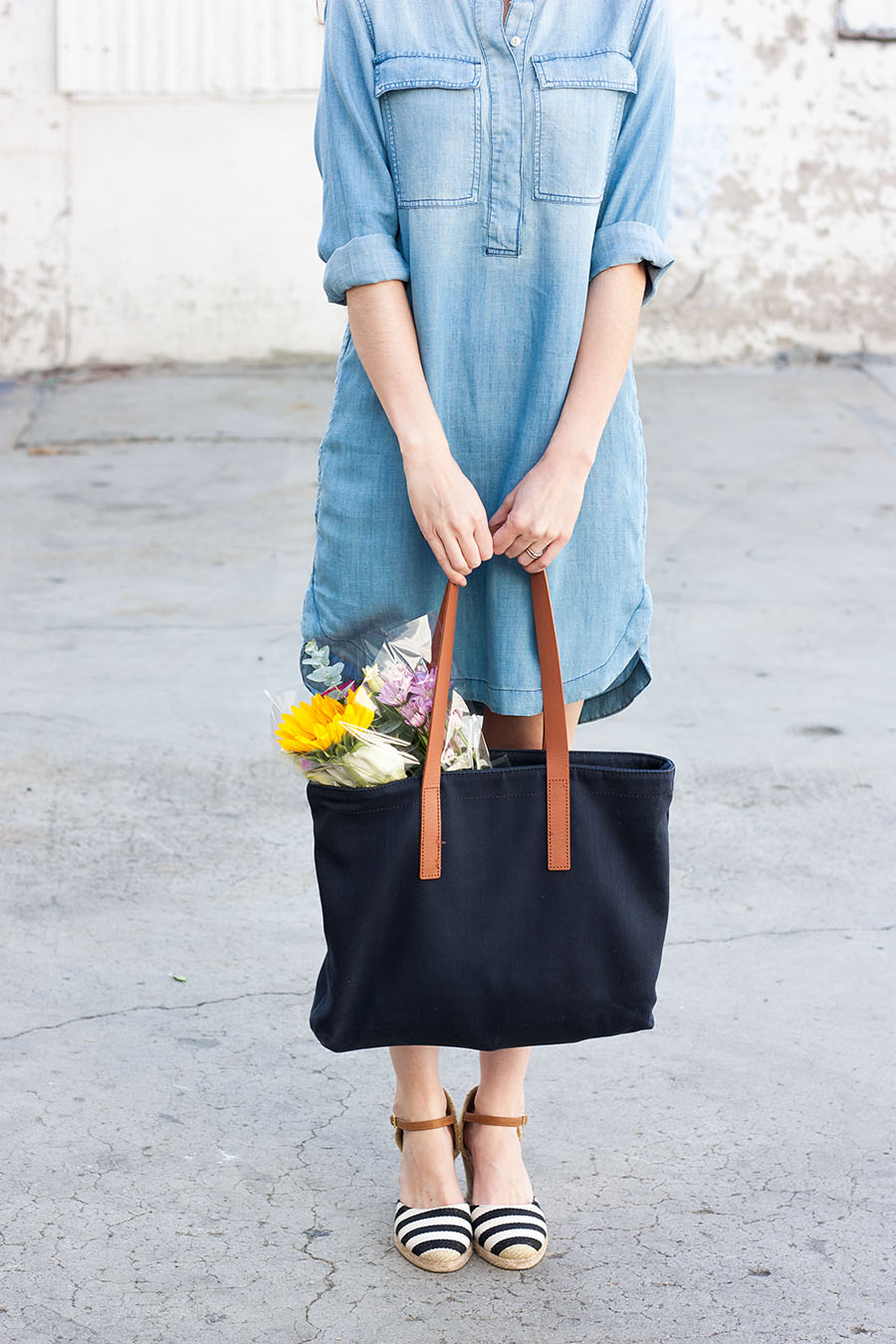 Everlane Tote, Striped Espadrille Wedges
