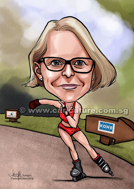 rollerblader digital caricature for Wartsila Singapore Pte Ltd (watermarked)