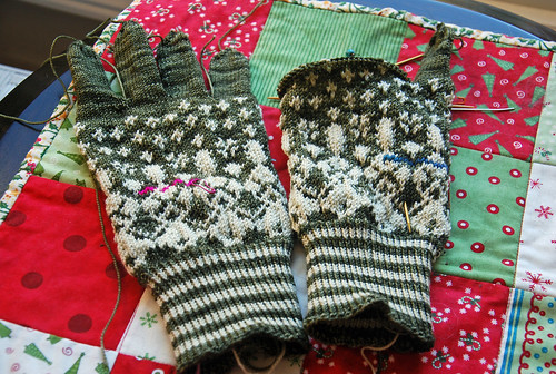 Knitting stranded gloves Little Lithuania by irieknit in fingering weight wool