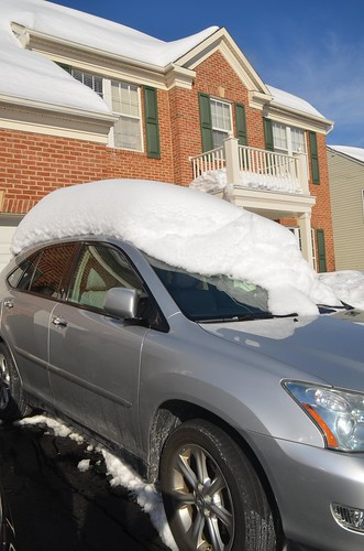 car with snow on roof
