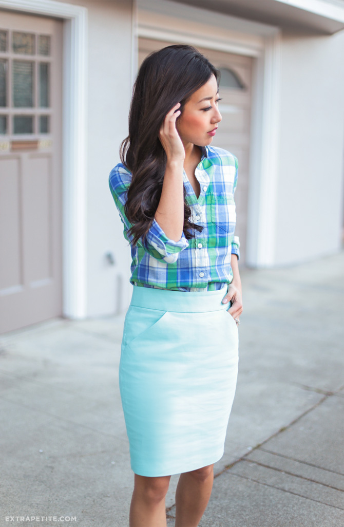 jcrew petites office outfit teal spring style