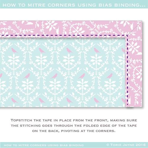 how to mitre corners using bias binding