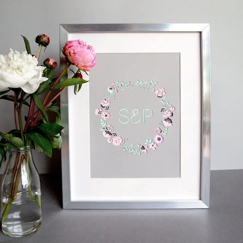 Personalized Botanical Initials Framed Paper Cut