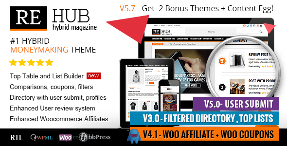 Themeforest REHub v5.7.2 - Directory, Shop, Coupon, Affiliate Theme