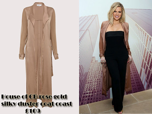 House-of-CB-rose-gold-silky-duster-coat-coast-with-black-strapless-jumpsuit