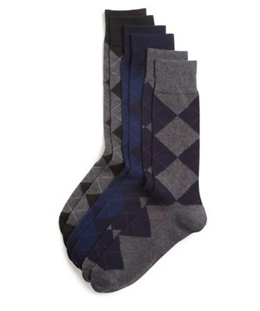 Well-Groomed Q&A Argyle Amethyst Grey Socks3