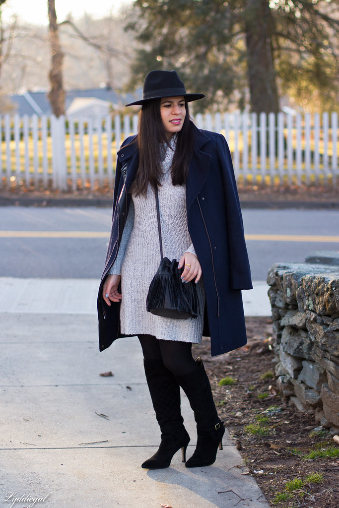 grey sweater dress, fringe bucket bag, wool hat, boots-1.jpg