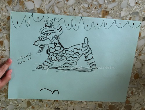 A drawing of lion dance