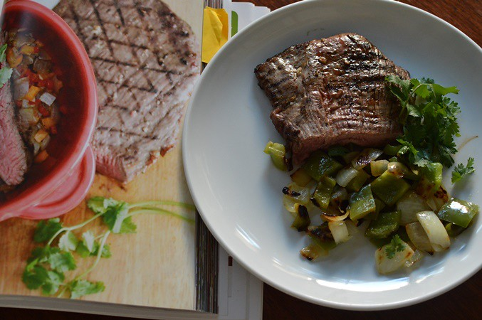 Grilled garlic flank steak with peppers & onions