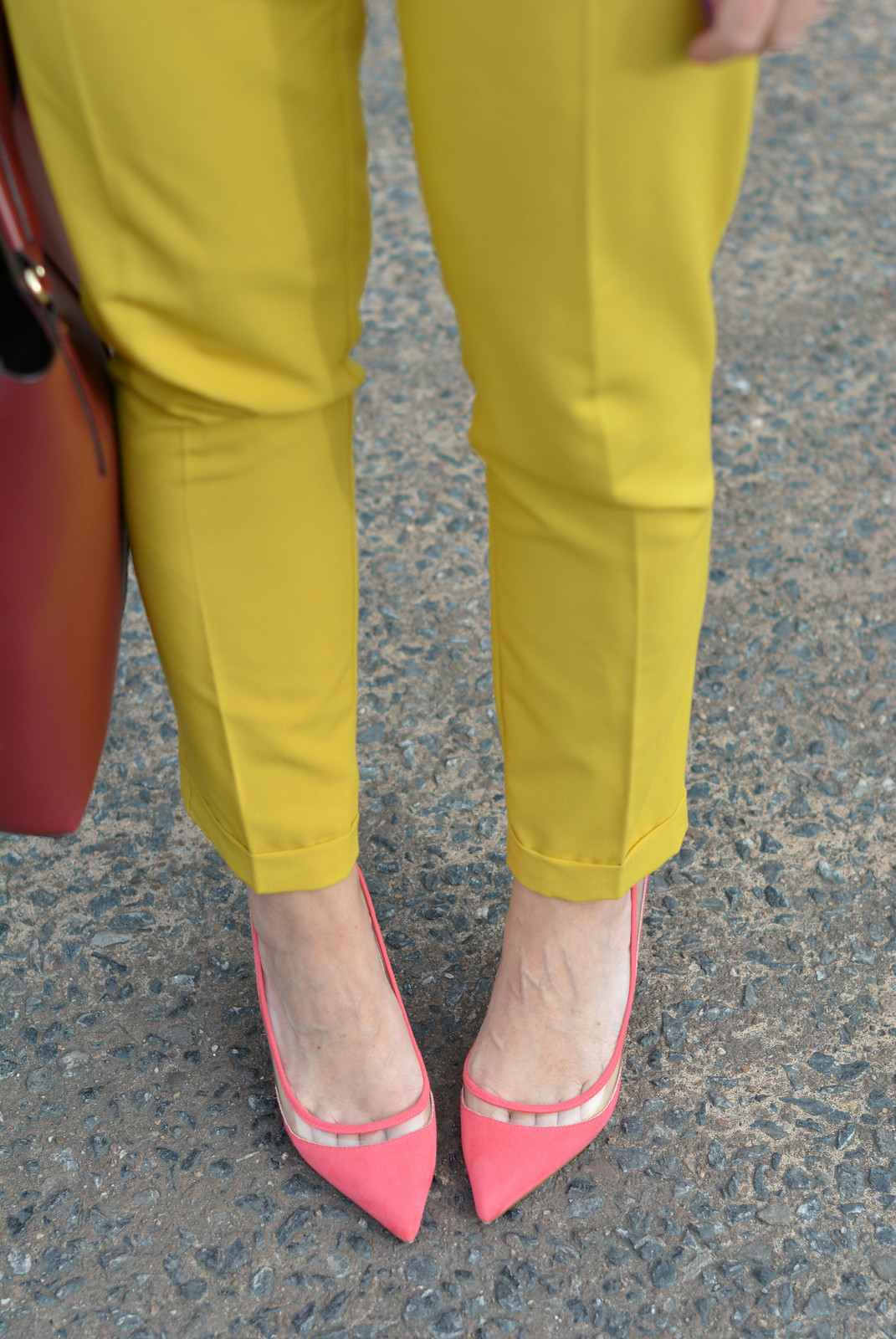 SS16 mustard yellow trousers, coral heels | Not Dressed As Lamb