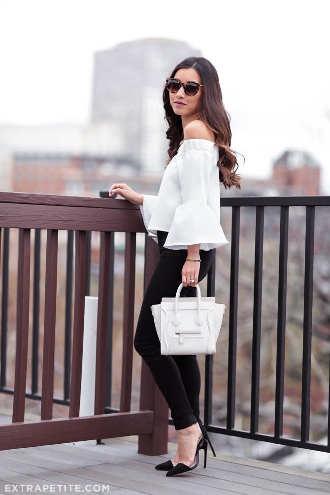black jeans jbrand maria vanity outfit petite celine luggage tote