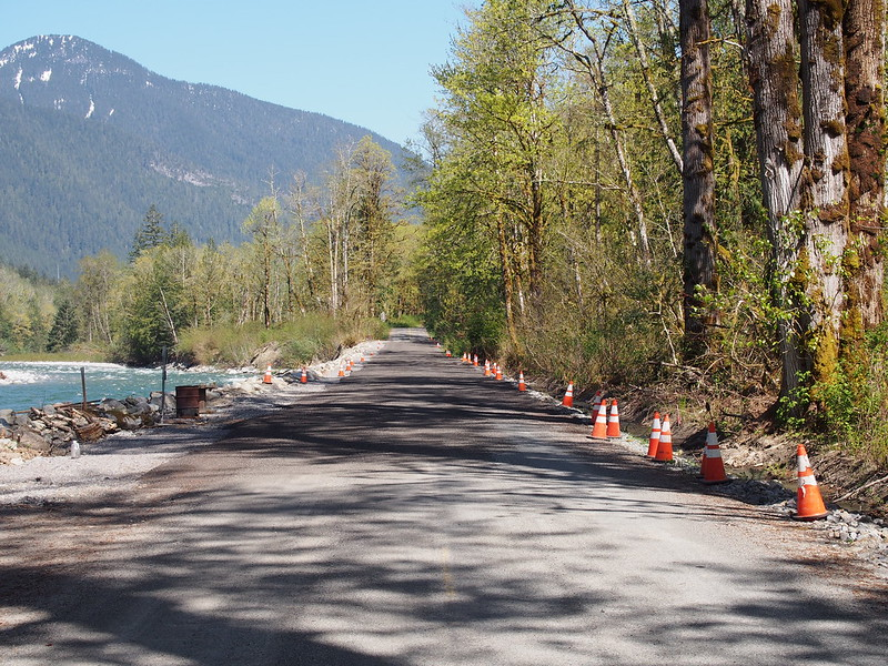 Index–Galena Road: Gravel Over Washout: This gravel section rests atop a restored riverbank.