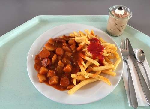 Sausage goulash with french fries / Würstchengulasch mit Pommes Frites