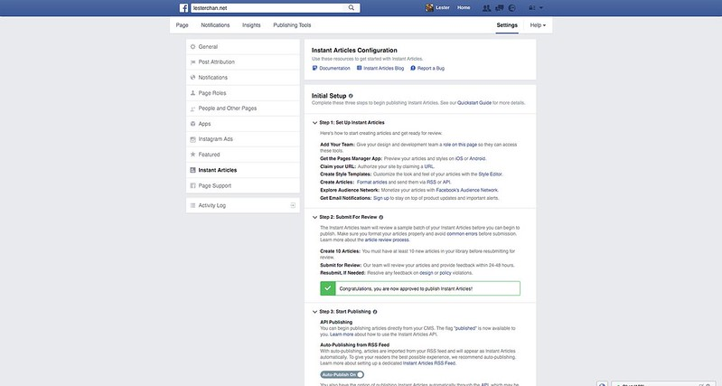 Facebook Instant Articles - Settings - 1