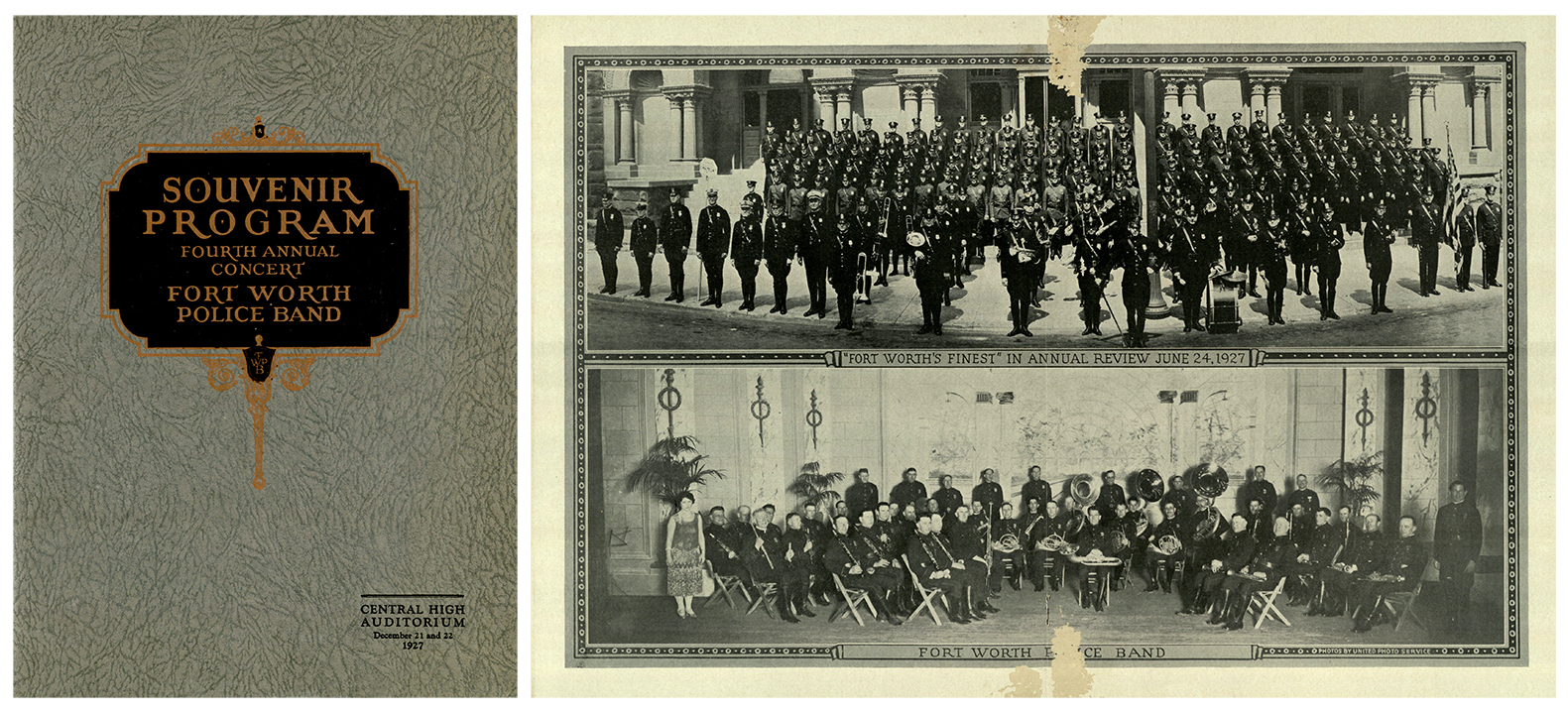Souvenir Program: Fort Worth Police Band Fourth Annual Concert. Fort Worth, TX, 1927.