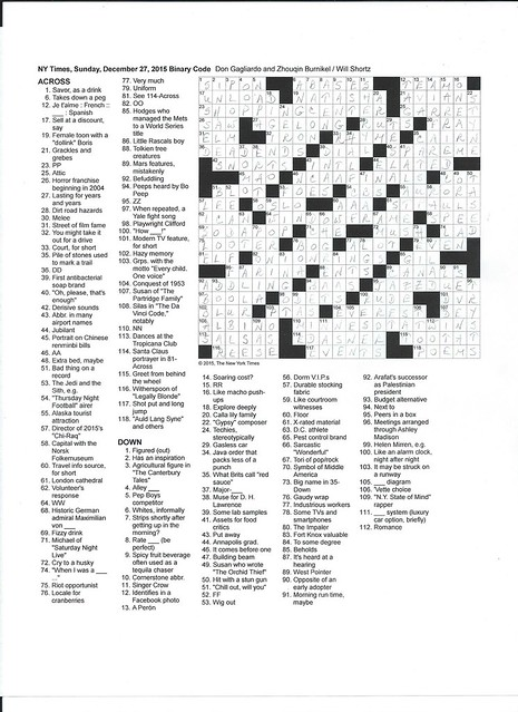 NYT Sunday Puzzle - December 27, 2015