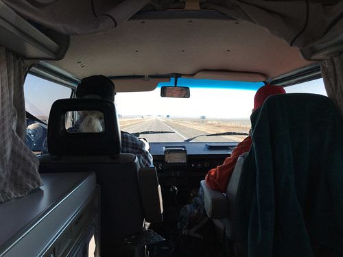 Riding in the back seat of a Westy through Kansas
