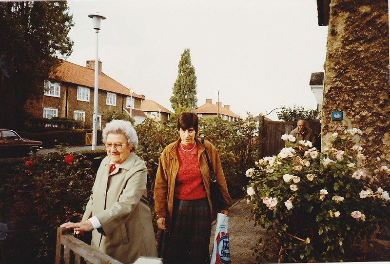 Mum and me at the gate in Oxlow Lane