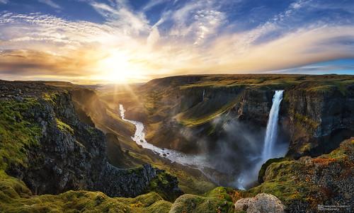 travel sunset panorama sun waterfall iceland amazing sony valley háifoss fossardalur a7rm2