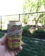 Enjoying the beautiful weather from my backyard with a delicious @leinenkugels.