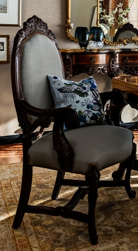 Barbara Barry blue Linen on antique French dining room chair