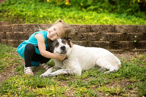 picture of little girl and dog