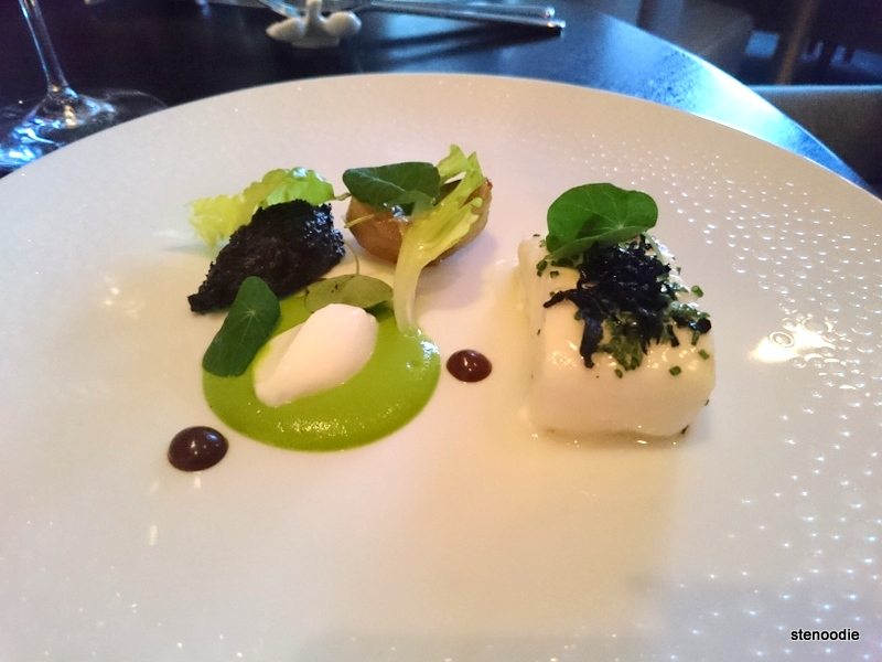 Pacific Halibut, Bibb Lettuce, Black Trumpet Mushrooms, Artichoke