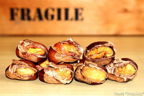 When prepared right, the roasted chestnuts almost pop out of their shell by themselves.
