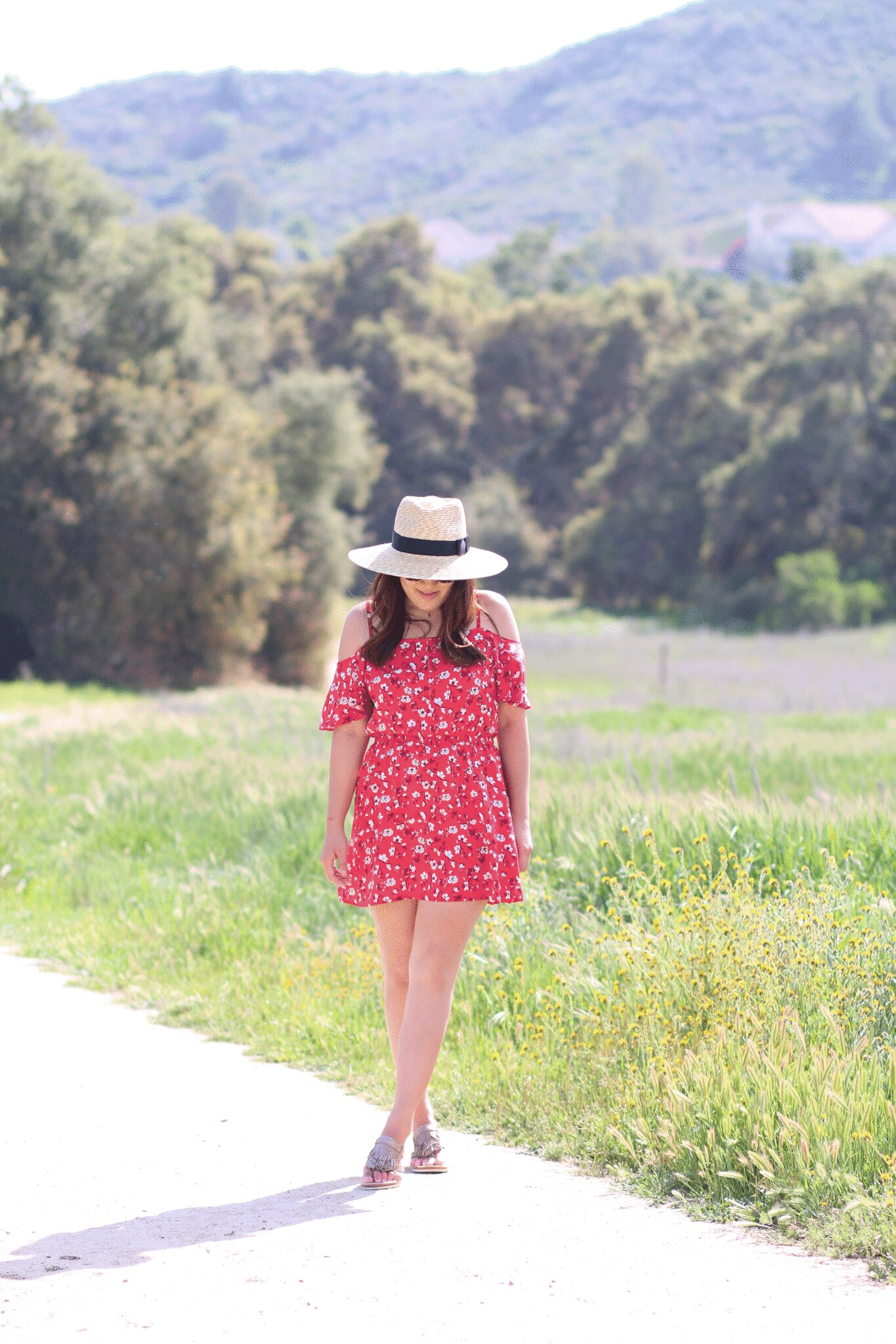simplyxclassic, miriam, comfortable fringe sandals, summer, hush puppies, shoe a day giveaway, red summer dress, orange county, fashion blogger